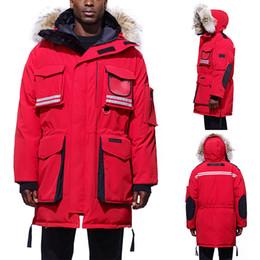 мужская длинная зимняя парка Скидка Мужская Модельер снег Зимние пальто Фирменные вниз ветровки насечками с длинным рукавом с капюшоном мантра Outerwears ветровки куртки с Меха Канады