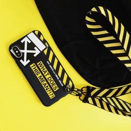 Colhedores para casais on-line-Moda Off Simples Carta Branco Caso Casal telefone para iPhone 11Pro 7 8 Plus X XS XR MAX 11 pro Max macia capa com cordão