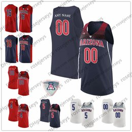 8dfe5ce7538 Custom Arizona Wildcats College Basketball Any Name Number Red Navy Blue  White 5 Brandon Randolph 2 Williams 4 Chase Jeter NCAA Jersey S-3XL