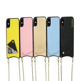 чехлы для кредитных карт Скидка Стильная сумка для телефона-кошелька для кредитных карт Чехол Crossbody с ремешком с длинной цепью для Iphone XS MAX XR X 6S7 8 плюс чехол