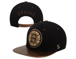 style flat ball cap Coupons - Men's Boston Bruins Zephyr Style Snapback Hat Logo Embroidery Sport NHL Adjustable Hockey Strapback Caps Flat Leather Baseball Hats
