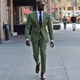 Trajes de hombre verde online-Trajes casuales de hombre verde para traje de boda Best Man Blazers Por encargo Novios Tuxedos 2 piezas Abrigo Pantalones Slim Fit traje Homme Fiesta