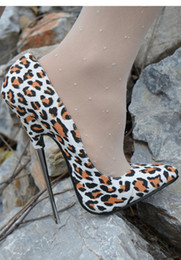 scarpe bianche 16cm Sconti White Leopard Shallow 16cm Heel Scarpe da donna Metallic Heel Plus Size Scarpe Super High Club Slip-on Lady Tacchi a spillo