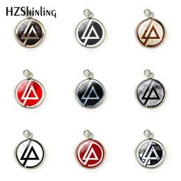 Colgante linkin park online-Nueva moda Linkin Park logo encantos de acero inoxidable Linkin Park Rock Band Butterfl cúpula de cristal collar colgantes joyería
