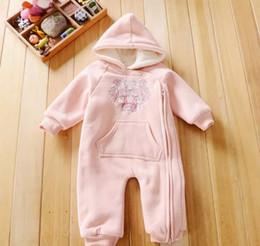 Inverno geral para bebês on-line-Venda quente 3 M-24 M Macacão de Bebê Inverno Quente Fleece Roupas Set para Meninos Dos Desenhos Animados Infantis Meninas Roupas Macacão Recém-nascido Macacão Macacão