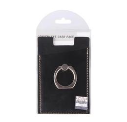 Blackberry stickers online-PU-Leder-Handy-Mappen-Taschenbeutel-Kartenhalter mit 360 Ringständer für mobile Geräte selbstklebende Aufkleber zurück mit Kleinverpackung