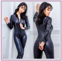 2020 pattini in pelle pvc Nuovo Faux cuoio della biancheria tuta Sexy Body Suits delle donne del PVC Teddy Erotic Body Zentai Costumi Latex Pole Dance la tuta sconti pattini in pelle pvc