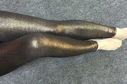 metallic pink leggings Coupons - Dark Gold Bronze Royal blue Purple Shiny Glitter Skinny Pants Stretch Metallic Leggings wet look PU leather Disco Yoga Leggings