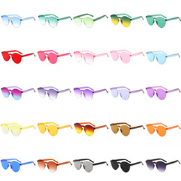 transparent shades Promo Codes - Fashion Round Edge Clear Jelly Colored Sunglasses Frameless Men Shades Glasses Gradient Transparent Eyewear Women Fashion Accessory 27Colors