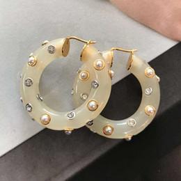 crochets en cristal d'or Promotion Top matériel en laiton goutte ronde crochet forme de boucle d'oreille avec cristal acrylique et le charme de diamant boucle d'oreille bijoux pour femmes cadeau livraison gratuite PS6736