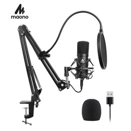 2019 usb microfono para karaoke Maono Kit de Micrófono Usb 192 kHz / 24 bits Profesional Podcast Micrófono de Condensador Para Pc Karaoke Youtube Studio Grabación Mikrofon T190704 usb microfono para karaoke baratos