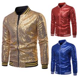 2020 chaqueta de beisbol para hombre xxl Mens chaquetas de lentejuelas de oro brillante y abrigos 2020 Chaqueta a estrenar de las lentejuelas béisbol de los hombres de DJ del club de la etapa Cantante Chaqueta Veste Homme XXL chaqueta de beisbol para hombre xxl baratos