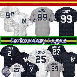 Нью-Йорк Недорогие янки 99 Aaron Judge Jersey 25 Глейбер Торрес Дерек Джетер 27 Джанкарло Стэнтон 24 Гари Санчес 3 Джерси Babe Ruth от