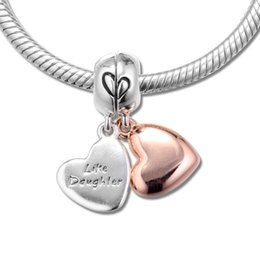 2019 lunette carrée Bricolage Convient Pour Pandora Perles Bracelets Mère Fille Amour Dangle Charms 100% 925 Sterling-Silver-Jewelry Livraison Gratuite