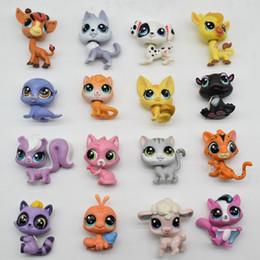 Comprar figuras de ação on-line-Lps Saco De Brinquedo 18 pcs Pet Shop Animais Gatos Crianças Crianças Figuras de Ação Pvc Lps Toy Aniversário / Presente de Natal