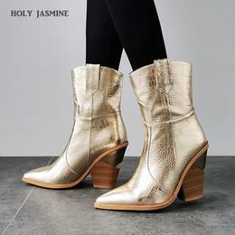 tornozelo, botas, pele, interior Desconto 2019 novo inverno botas de vaqueiro por Mulheres Salto Alto Fur Dentro Ocidental ankle boots por Mulheres Moda Ouro Prata Sapatos Mulher
