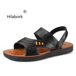 c456edb188b649 Hilabork 2019 summer men's leather sandals soft dough youth dual-use non-slip  men's casual sandals wear breathable beach shoes men wearing sandals on sale