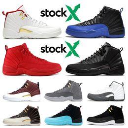 Zapatos de baloncesto azul marino online-Nike air jordan 12 12s Nuevo 12 12s para hombre Zapatillas de baloncesto Gym red Bulls Flu juego Taxi BORDEAUX College navy Gris oscuro diseñador hombres Deportes Zapatillas de deporte talla 7-13