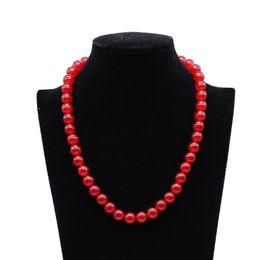coral rojo redondo de 8mm Rebajas 8mm 10mm Rojo Piedras Naturales Granos Redondos Coral Calcedonia Cristal Howlite Onyx Collar Largo Joyería de Las Mujeres Collares 48cm