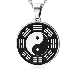 Pingente de chi em aço inoxidável on-line-Personalizado Mens Black Tai Chi Fofoca Aço Inoxidável Yin Yang Colar Pingente