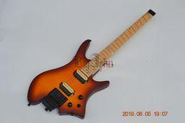 Guitarra mogno laranja on-line-Nova Guitarra Elétrica Sem Cabeça, Matte Laranja Flame Maple Top Mahogany BodyMaple Fingerboard BJ-191