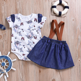 254a9ed6ec denim overall skirt Coupons - 2019 Ins Baby Girl Clothes Floral Romper  Bodysuit with Ruffle sleeve