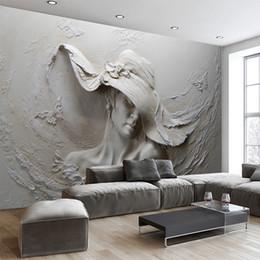 2019 scultura d'epoca Personalizzato 3D Stereo in rilievo Caratteri di cemento scultura foto carta da parati in stile europeo Vintage soggiorno comodino Decor 3D murale scultura d'epoca economici