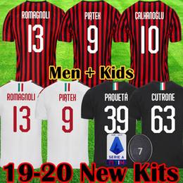 Kit de futebol ac milan on-line-AC 2019 2020 milan camisa de futebol 19 20 camisas de futebol Piatek Bakayoko Borini Kessie kits uniformes maillot CALDARA Cutrone Camisa CALHANOGLU