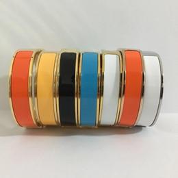 Manschettenarmbänder online-12mm Luxus Manschette BraceletsBangles Armband Emaille Armband H Silber Schnalle Top Qualität Armbänder für Frauen