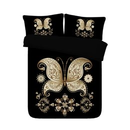 Set di comforter super king online-Nero copriletto oro farfalla copripiumino Golden 3 pezzi Bedding set con 2 cuscino Shams Super Soft Cover Consolatore Senza Consolatore
