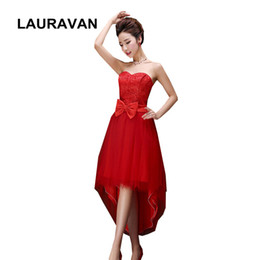 rote trägerlose einfache elegante geschwollene Brautjungfer Tüll Kleid Partykleider Korsett High Low Gown 2018 unter $ 50 billig frei von Fabrikanten