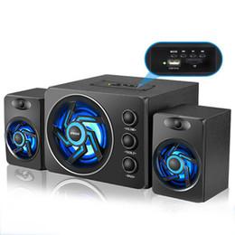 Pc-spiel-desktops online-D-209 Holz Bluetooth Lautsprecher Subwoofer Mit Bunten LED-Licht Desktop-Computer Lautsprecher Mit Perfekten 2,1 Gaming Und Multimedia PC