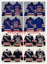 Mattenjunge online-Genähte WOmen Jugend New York Rangers Jersey Kinder 11 Mark Messier 27 Ryan McDonagh 30 Henrik Lundqvist 36 Mats Zuccarello Jersey Boys Lady