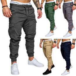 2019 cravate étiquettes en gros Marque Automne Hommes Pantalons Hip Hop Harem Joggers Pantalons Hommes Pantalons Hommes multi-poches solide Pantalon cargo Skinny Fit Sweatpants