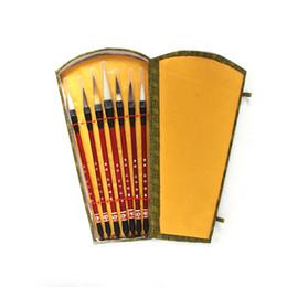 2019 ajouter de l'art 7pcs calligraphie chinoise pinceau stylo ajouter boîte de rangement laine brosses de peinture de cheveux mis en place pour l'école Darwing Art Supplies T8190617 ajouter de l'art pas cher