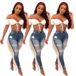 2019 pantalones negros de talla grande Mujeres Ripped Hole borlas Jeans Bodycon cintura alta verano Otoño Pantalón Slim Skinny Stretch Denim Pantalones Pantalones LJJA2883