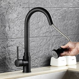 2019 grifo extraible negro de la cocina Pull Out grifo de latón pintado Negro grifo de la cocina Kitchen Sink pulverizador Negro Pulse M rebajas grifo extraible negro de la cocina