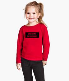 vestidos da camiseta da luva longa da criança Desconto Meninas Não Se Vestem para Meninos T-shirt Criança Roupa Da Menina Dos Miúdos Outono Carta de Manga Longa Impresso T-shirt Tops Crianças Roupas