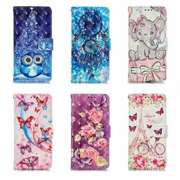 3d case tigre Promotion Etui portefeuille en cuir 3D pour Iphone 11 5.8 6.1 6.5 pouces 2019 Samsung Note 10 Pro A90 A80 A20E tigre éléphant Dreamcatcher Flower Owl Flip Cover