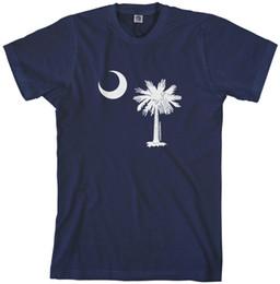 Дизайн красной футболки онлайн-Threadrock мужские флаг Южной Каролины дизайн футболки Palmetto полумесяц государство белый черный серый красный брюки футболка