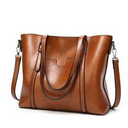 Tasche groß online-SND Frauen tasche Öl wachs frauen Handtaschen aus Leder Luxus Dame Handtaschen Mit Geldbörse Tasche Frauen umhängetasche Große Tote Sac Bols