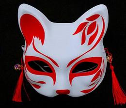 2019 maske hände Fox Maske halbe Gesichtsmaske Halloween Cosplay Tiermasken handgemalten Wind-Anime Cosplay Maskerade Maske im japanischen Stil rabatt maske hände