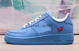 2019 zapatos de skate para hombre azul Nike Air Force 1 Off White Low MCA University Blue Metallic Silver Zapatillas para correr Airforce 1 One Force Shoes Mujer Hombre Entrenadores CI1173-400 Cestas Zapatos rebajas zapatos de skate para hombre azul