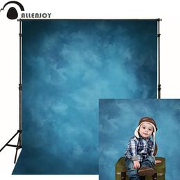 Fondo de tela de vinilo online-Allenjoy Vinyl cloth fotografía telón de fondo antiguo maestro azul foto fondo estudio sólido color puro wedding photofall photophone