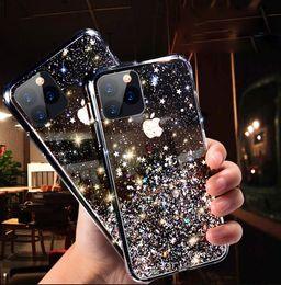 Lusso scintillio di Bling della cassa del telefono per l'iPhone 11 Pro X XS Max XR molle del silicone Cover per iPhone 7 8 6 6S plus Casi trasparenti Capa da bordatura in plastica nera fornitori