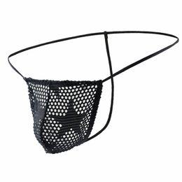 Durch nylon sehen online-# FA1006DK Sexy Unterwäsche-Tangas für Herren T-Strings-Mesh-Löcher sehen durch Höschen Dessous