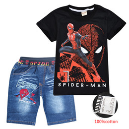 pocket pc kids Promo Codes - Avengers Spider-Man Printed children clothing Sets Summer 3-10t 100% Cotton T-shirt+Shorts 2 PCS Sets Kids Baby Boy Clothes Sets SS222