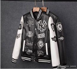Camisolas pu on-line-Frete grátis homens casacos marca mens mens nova iorque pu casaco de moda hip hop beisebol bordado jaqueta de NY moletom