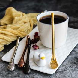 Colheres de café on-line-Aço inoxidável Filtro De Café De Palha Cabaça Filtro Colher De Mistura De Colher Beber Chá Mate Cabaça De Abóbora Filtro De Bombilla