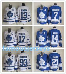 Торонто онлайн-Торонто Мейпл Лифс возвратные хоккейные майки 7 Тим Хортон 13 Матс Сундин 14 Дейв Кеон 17 Вендел Кларк 21 Бобби Баун 93 Дуг Гилмор